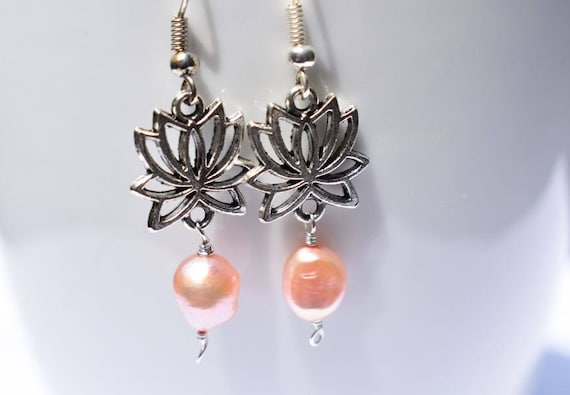 Lotus Earrings | Pearl Earrings | Pink Pearl Earrings | Gift for Her | Rose Pink Earrings | Silver Lotus flower Jewelry