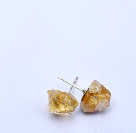 Raw citrine crystal stud earrings | rough stone stud earrings | November birthstone earrings