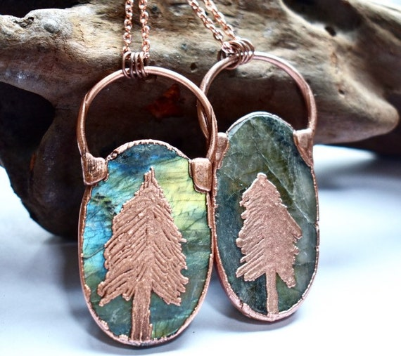 Blue Labradorite necklace - rustic copper labradorite pine tree necklace - rustic pine tree necklace - wanderlust necklace - nature lover je