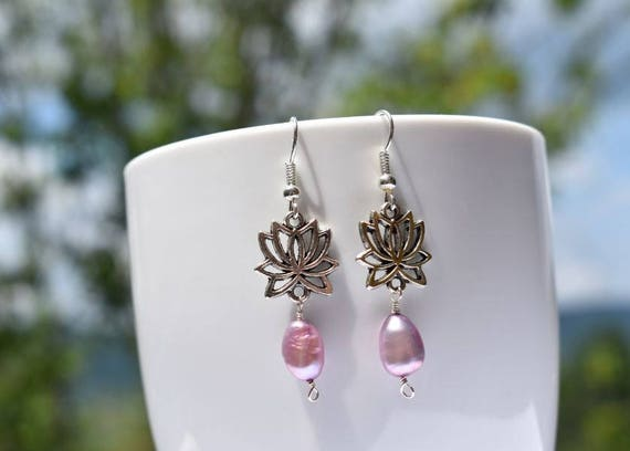 Lotus earrings | Lotus Flower Earrings | Lavender earrings | Purple earrings | Gift for her | Pearl Earrings | Silver Lotus Earrings