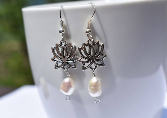 pearl lotus earring silver lotus earrings boho bride earrings bridal shower gift