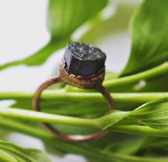 Black tourmaline ring | raw black tourmaline electroformed ring