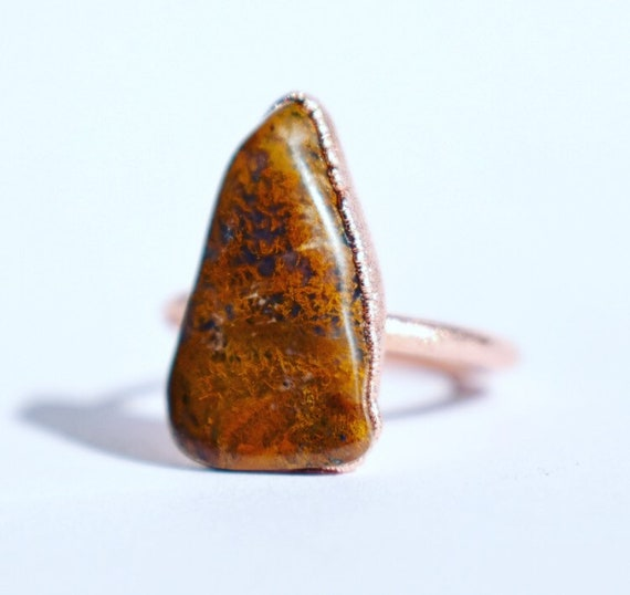 Rough gemstone ring | agate statement ring electroformed copper | rustic gemstone ring