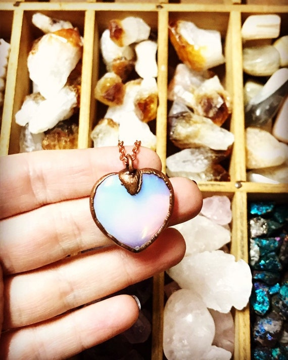 opalite heart necklace | crystal heart necklace | rainbow crystal heart necklace | opalite heart necklace | electroformed copper  necklace