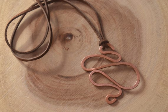 Copper Swirl necklace |  hammer copper necklace | leather necklace