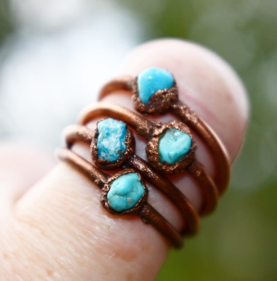 Raw turquoise ring - rustic copper turquoise ring genuine turquoise ring electroformed stacking ring- December birthstone ring