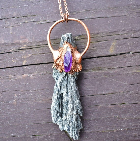 black kyanite necklace raw amethyst stone necklace electroformed in raw recycled copper handmade one of a kind jewelry