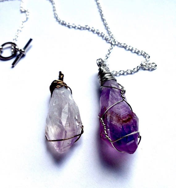 amethyst point necklace | raw amethyst necklace | February birthstone necklace | made to order amethyst wire wrapped necklace