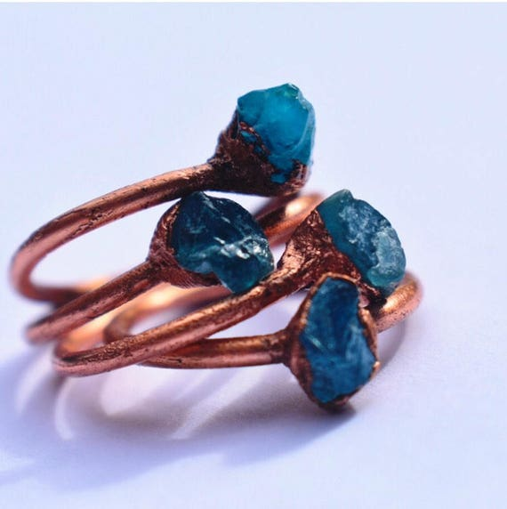 Raw Blue Apatite gemstone ring | stackable ring | rustic copper ring | bohemain crystal ring | handmade rough stone ring