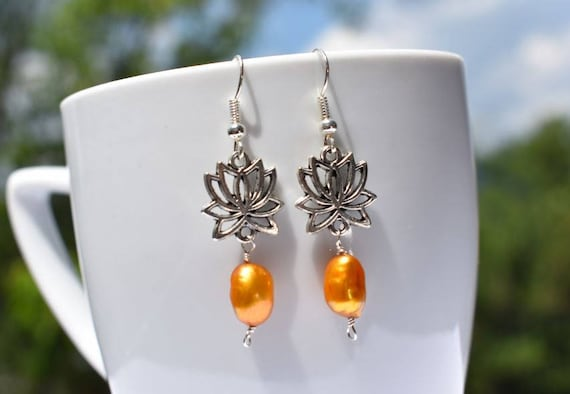 Lotus Earrings | Silver Lotus Earrings | Pearl Earring | Orange Beaded Earrings | Gift for Her | Lotus Flower Earrings