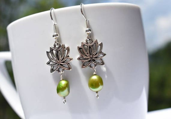 Lotus Earrings | Lotus Flower Earrings | Silver Lotus Earrings |  Pearl Earring | Green Dangle Earrings | Gift for Her