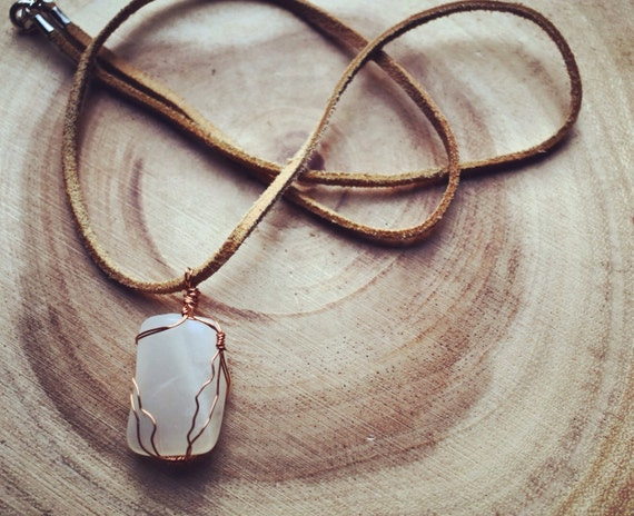 Moonstone necklace: Copper wrapped Moonstone gemstone crystal pendant necklace // bohemian gems // boho chic // healing stone made to order