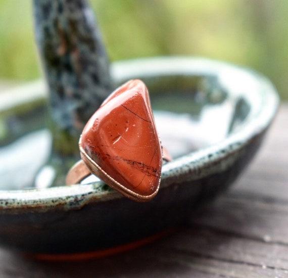 Red Jasper statement ring | desert red gemstone ring | ooak ring | electroformed gemstone ring