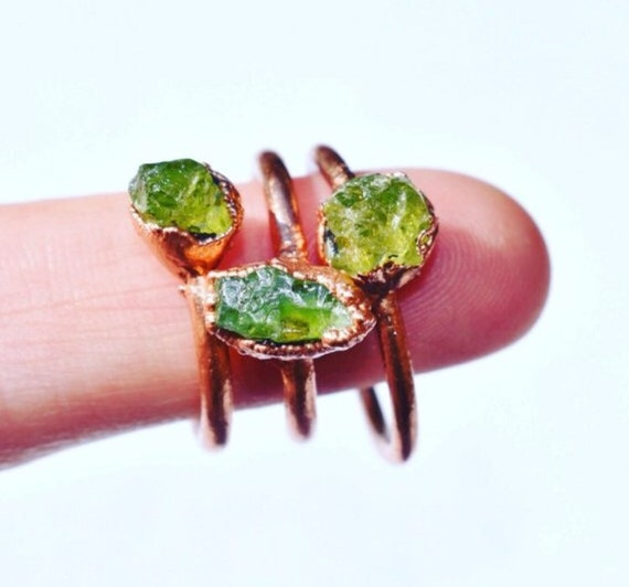 Raw peridot ring green made to order August birthstone ring tae crystal ring copper electroformed
