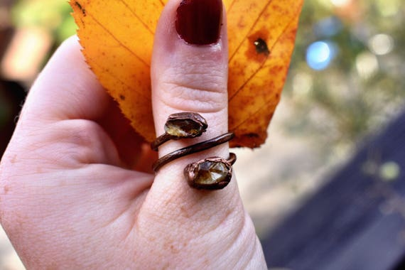 citrine ring | raw citrine swirl | rough citirne copper ring | electroformed copper ring | rustic raw gemstone ring