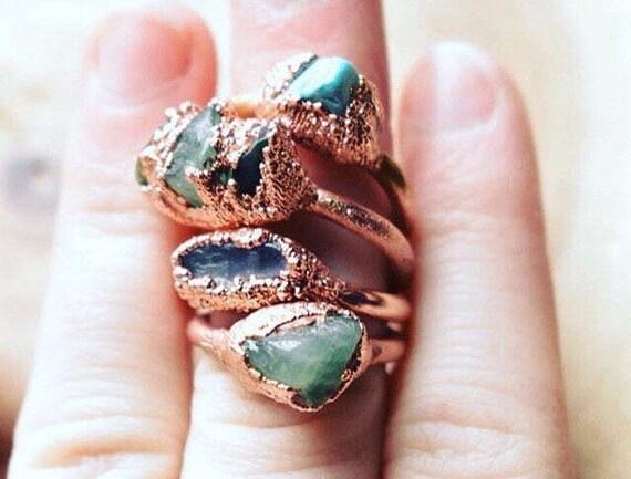 Rough green aventurine gemstone ring | raw stone ring | bohemian ring | electroformed copper ring | rough crystal ring