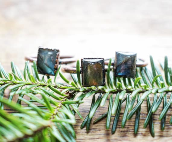Blue labradorite ring square gemstone ring copper electroformed