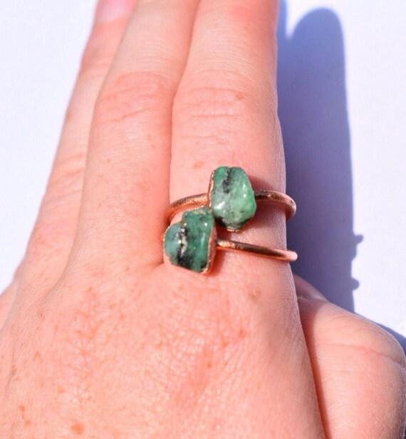 Raw emerald ring | raw crystal emerald ring | gemstone ring | may birthstone ring electroformed copper ring | Emerald Stacking Ring
