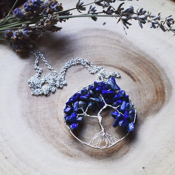 Raw gemstone Tree of life necklace  | Lapis Lazuli tree | December birthstone | tree wire wrapped pendant | gift for her