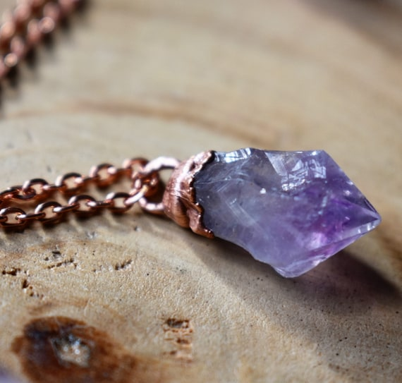 Raw amethyst made to order crystal point necklace electroformed in raw copper on copper chain