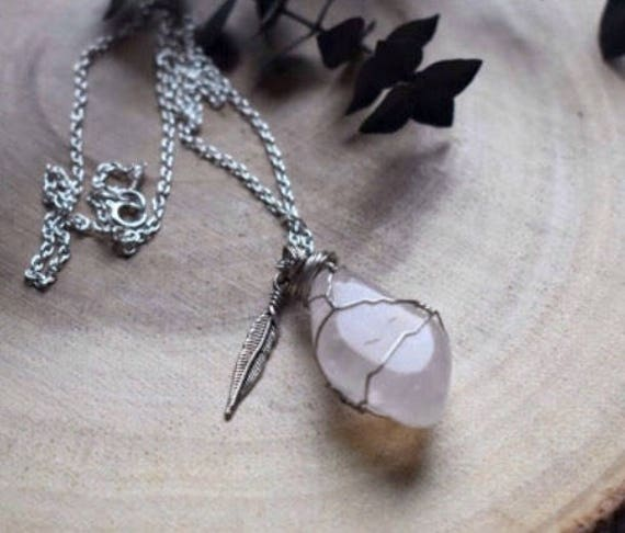 rose quartz wrap necklace  | crystal gemstone necklace | feather necklace |  crystal healing necklace | wire wrapped crystal necklace