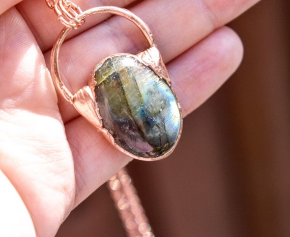 Blue labradorite copper necklace electroformed crystal gemstone necklace