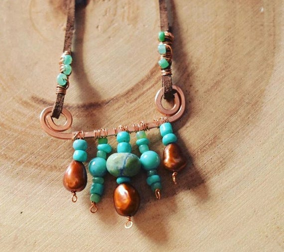 Turquoise necklace beaded with dark brown suede leather | bohemian necklace | copper wore wrap necklace