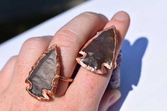 Jasper arrowhead ring | Gemstone bohemian ring | rough jasper ring | statement ring | southwest ring