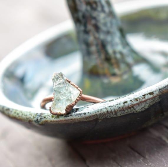 Raw Aquamarine ring | chinky aquamarine ring |  March birthstone ring | electroformed ring blue crystal ring