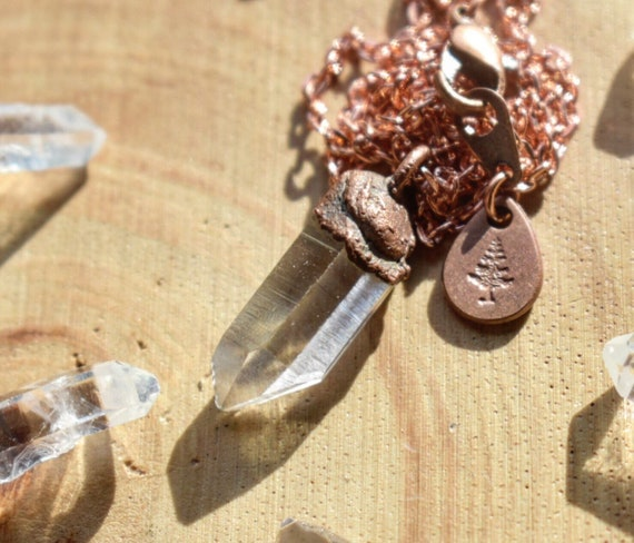 Quartz point necklace electroformed in raw copper antiques rustic copper necklace crystal point