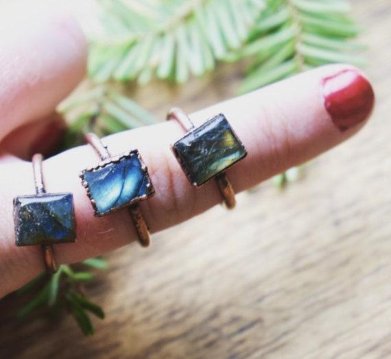 Blue labradorite ring square gemstone ring copper electroformed