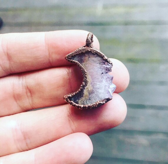 amethyst stalactite moon necklace Amethyst slice moon necklace raw copper moon necklace raw amethyst moon pendant