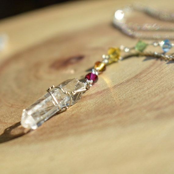 Quartz point  necklace rainbow crystal beads necklace sterling silver chain chakra