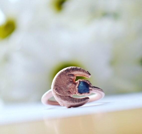 Sapphire ring | raw sapphire moon ring |gemstone ring | moon stone sapphire electroformed ring copper
