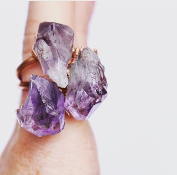 amethyst ring | raw amethyst statement ring | chucky ring purple gemstone crystal | February birthstone ring | huge statement ring |