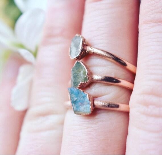 Raw Labradorite ring | copper gemstone ring | gemstone stacking ring | minimalist ring |  made to order