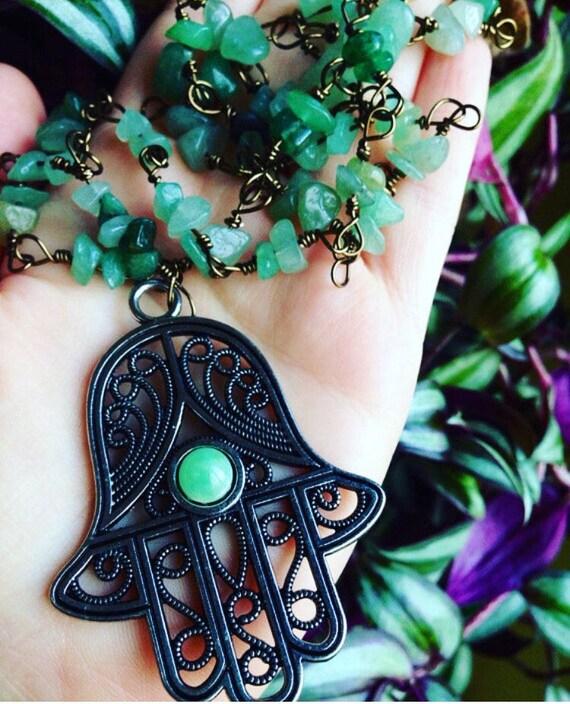 Hamas necklace | large hamsa raw aventurine necklace | green gemstone necklace | yoga necklace | handmade bohemian necklace