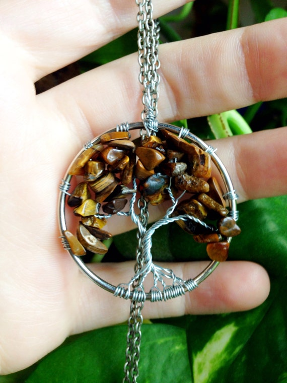 Tigers eye Tree of Life necklace gemstone  tree wrapped silver pendant made to order