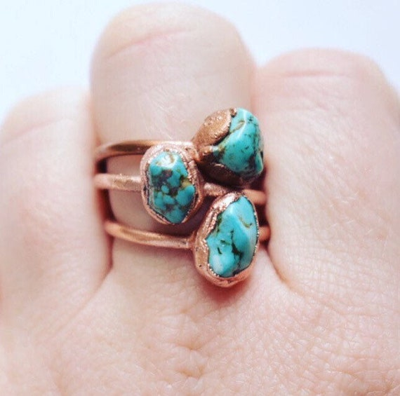 turquoise ring / hawlite ring | electroformed copper ring |December birthstone ring | Howlite Turquoise stone bohemian ring