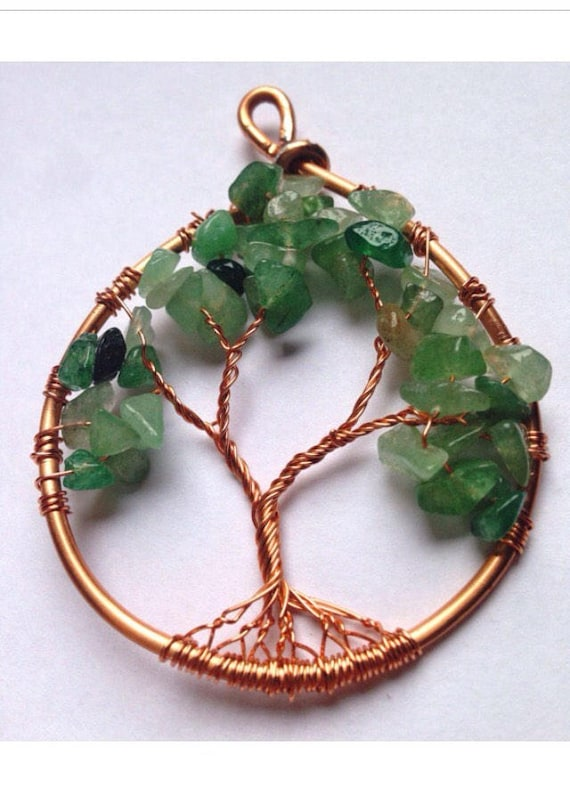 Green aventurine tree of life necklace | green gemstone tree necklace | raw green aventurine necklace made to order