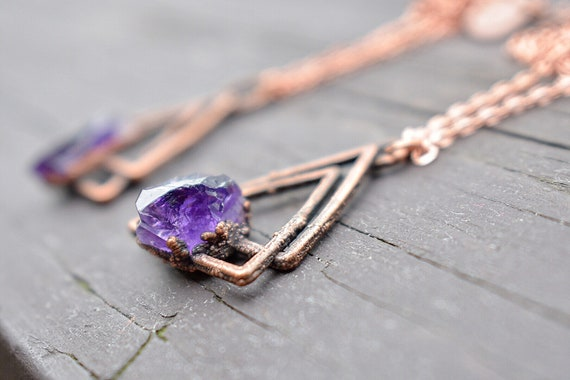 Raw amethyst Triangle necklace gemstone electroformed raw copper bohemian style necklace