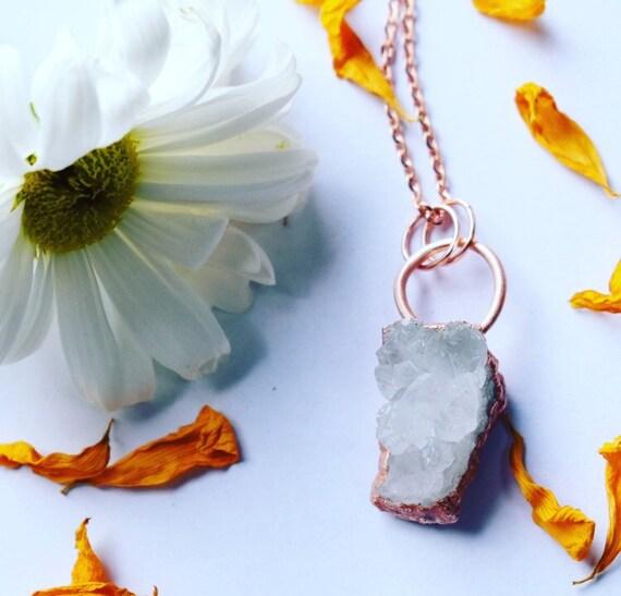 Snow quartz druzy necklace electroformed copper crystal necklace crystal cluster necklace