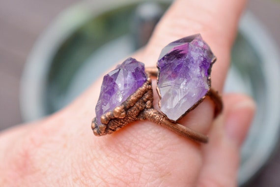 Raw amethyst gemstone ring | antiqued copper ring electroformed raw recycled copper bohemian ring