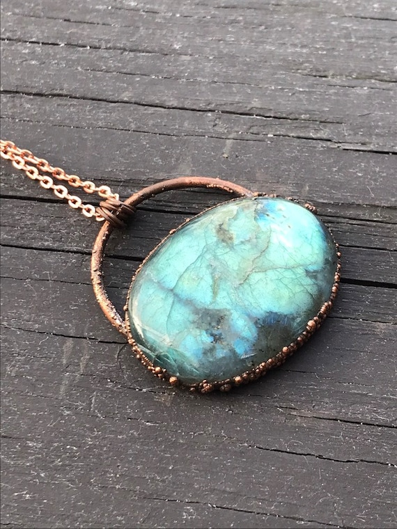Blue labradorite statement necklace electroformed antiqued copper labradorite pendant copper gemstone necklace