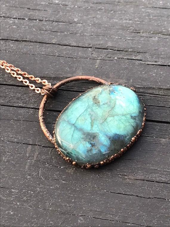 labradorite statement necklace electroformed antiqued copper labradorite pendant copper gemstone necklace