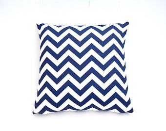 Price reduced from 19.99! Chevron Pillow Cover in Navy Blue (18x18)