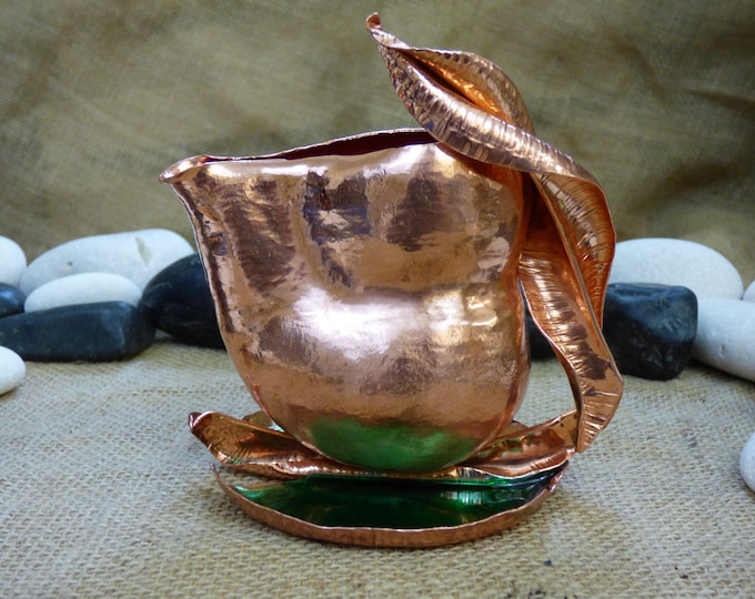 Featured listing image: Copper Creamer - Lily Pad Tea Creamer - Small Leaf Handled Pot - Copper Coffee Creamer - Small Green and Pink Tea Pot - Decorative Creamer