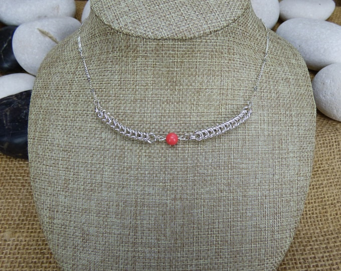 Featured listing image: Sterling Silver Queens Chain and Coral Bead Necklace - Silver Necklace - Twisted Curb Chain Silver Necklace - Chainmail Beaded Necklace