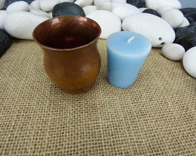 Featured listing image: Rustic aged copper candle cup - copper votive candle cup - small copper candle hurricane - rustic hammered copper candle hurricane