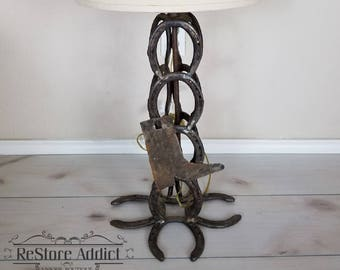 Vintage Horseshoe Lamp / Table Lamp / Accent Lamp / Cowboy Lamp